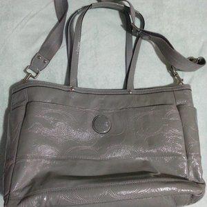 Coach grey patent leather signature diaper bag